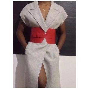 ZARA Red Vegan Leather Wide Corset Belt
